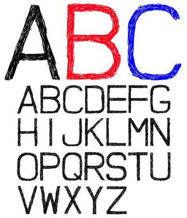 Hand drawn and sketched font, doodle  Vector
