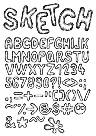 Hand drawn and sketched font, doodle style Illustration