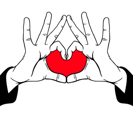 nice guy: Hands symbolic love, vector illustration