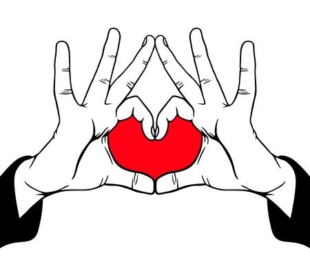 drawing heart: L'amour Mains symbolique, illustration vectorielle