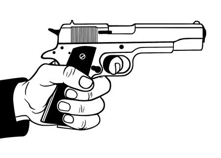 hand gun: Gun in hand, vector illustration