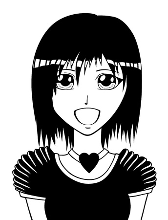 Young manga girl, vector illustration Vector