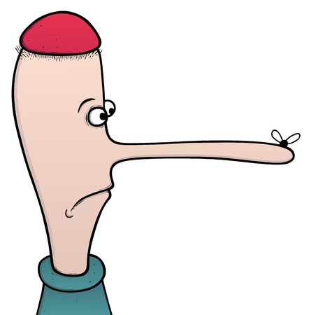 weary: Dumb boy with long nose, cartoon illustration