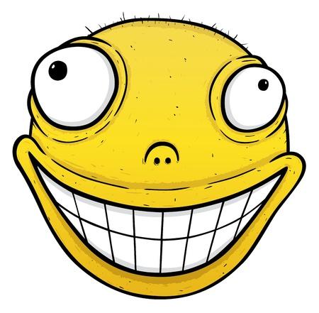 crazy face: Orange crazy smile, smile for energy drink or for others, vector illustration Illustration