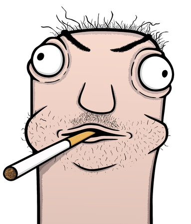 alcoholist: Roker en alcoholische cartoon, vector illustratie