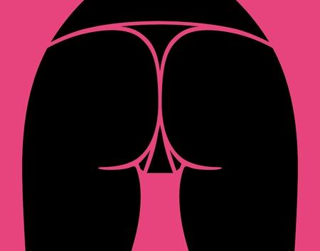 nude women: Sexy woman ass, vector illustration