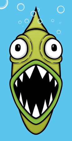 fish: Cute green piranha in blue background, vector illustration