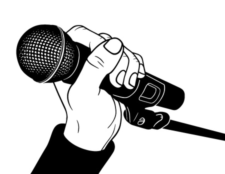 mike: Hand with microphone, vector illustration
