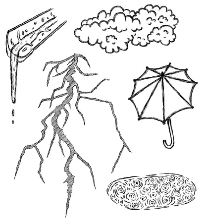 rainstorm: Hand drawn theme of dull climate
