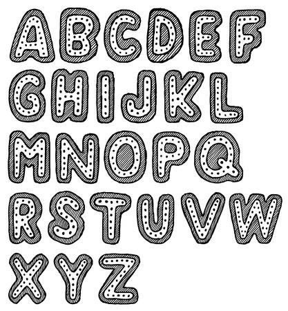 vieze handen: Hand getrokken vector abc, lettertype, alfabet