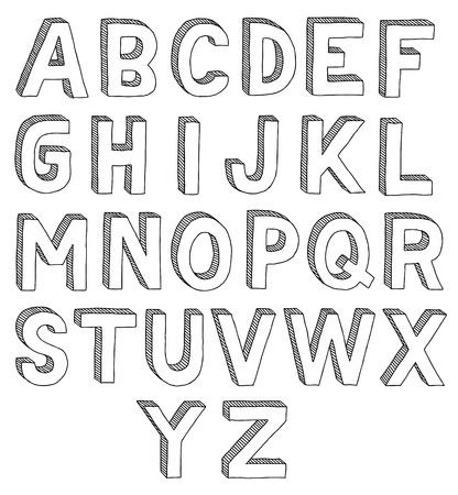 vieze handen: Hand getrokken vector abc, lettertype, 3D, alfabet