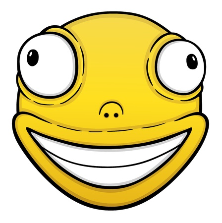 crazy hair: Orange crazy smile, cartoon illustration
