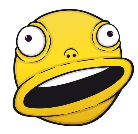 humoristic: Sonrisa de naranja Loco, observando el rostro de