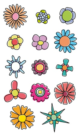 Set of hand drawn colorful flowers Stock Vector - 12372253