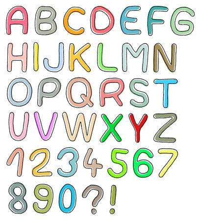 learning english: Hand drawn font, colorful design