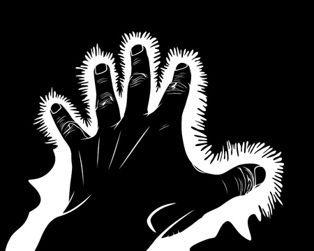 Hand symbolic pain, electric shock or chakra