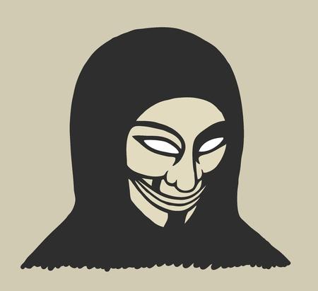 Masked man, protesting painted theme Illustration