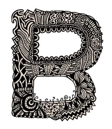 old english letter alphabet: Hand drawn letter B, ancient style