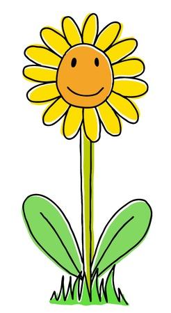 Joy hand drawn sunflower, cartoon illustration Stock Vector - 12372313