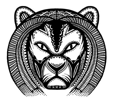 lion drawing: Disegnata a mano testa di leone, illustrazione vettoriale, stile antico