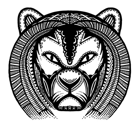 angry lion: Hand drawn head of lion, vector illustration, ancient style