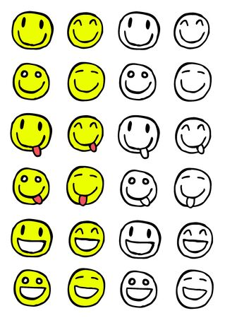 Hand drawn set of smiles, cartoon illustration Stock Vector - 12372314