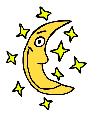 Hand drawn moon, cartoon illustration Stock Vector - 15278730