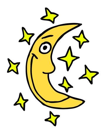 night school: Hand drawn moon, cartoon illustration