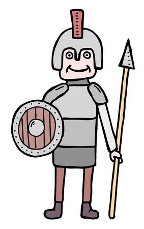 militia: Cartoon man in arms, militia Illustration