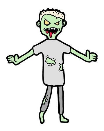 Hand drawn zombie, cartoon illustration Vector