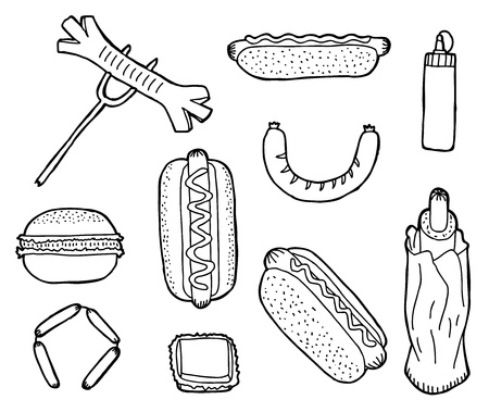 dog pen: Hand drawn fast food collection