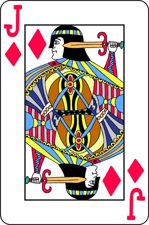Hand drawn Jack of diamonds playing card Stock Vector - 15278736