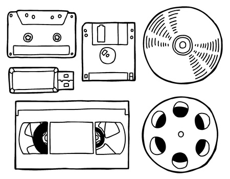 diskette: Hand drawn old media set