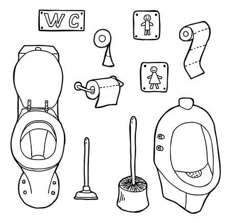 productos de aseo: Dibujado a mano y esboz� WC set Vectores