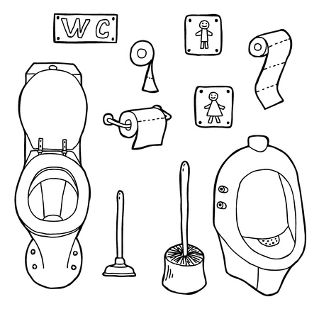 cartoon toilet: Hand drawn and sketched WC set