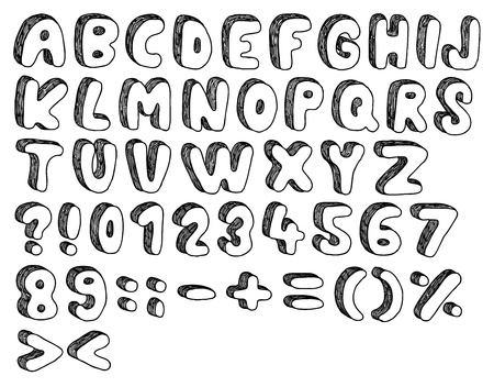 Comic doodle font, hand drawn and sketched