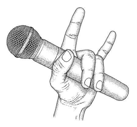 reporters: Hand drawn hand with microphone