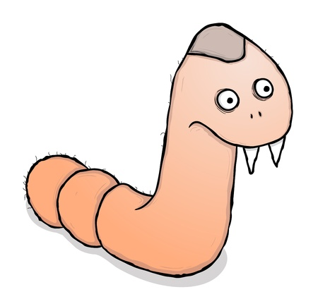 Cute worm, cartoon illustration  Vector