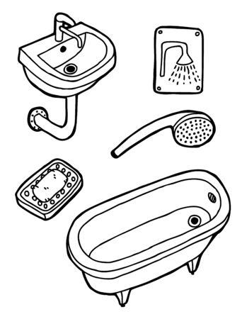 washbasin: Set of hygiene, hand drawn  Illustration