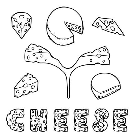 hermelin: Set of cheese, hand drawn  Illustration