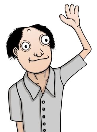 Individual man, cartoon illustration