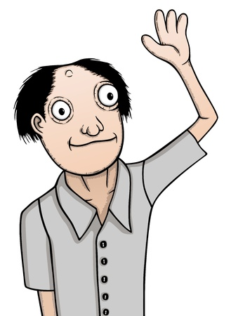 drawing boy: Individual man, cartoon illustration