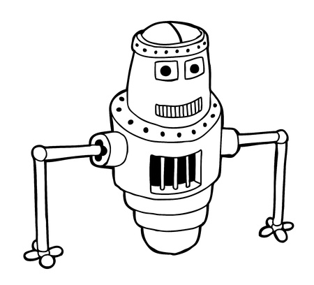 scifi: Hand drawn Robot as caricature  Illustration