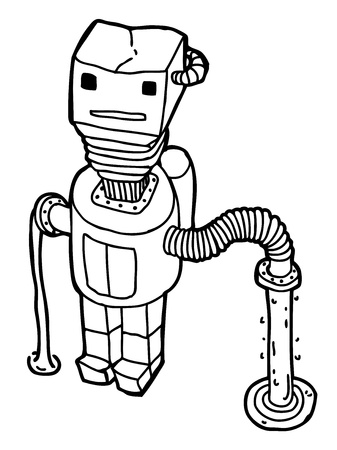 Hand drawn Robot as caricature Stock Vector - 16170793