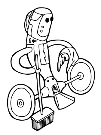 Hand drawn Robot as caricature  Illustration