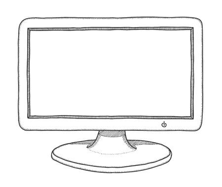 Hand drawn monitor, vector illustration