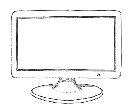 lcd display: Hand drawn monitor, vector illustration
