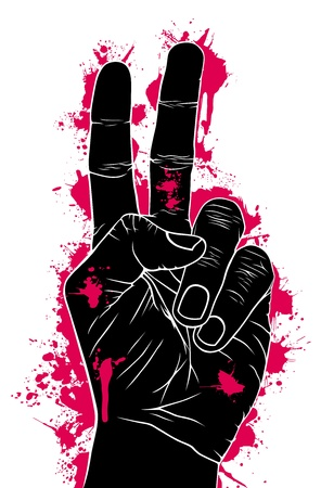 victory symbol: Abstract of aggression, vector illustration Illustration