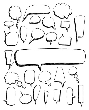 caption: Big set of Speech bubble doodles Illustration