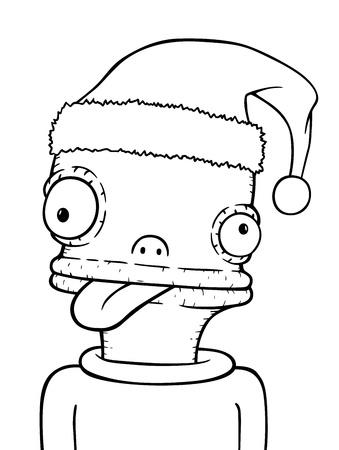 Xmas comic face, vector illustration